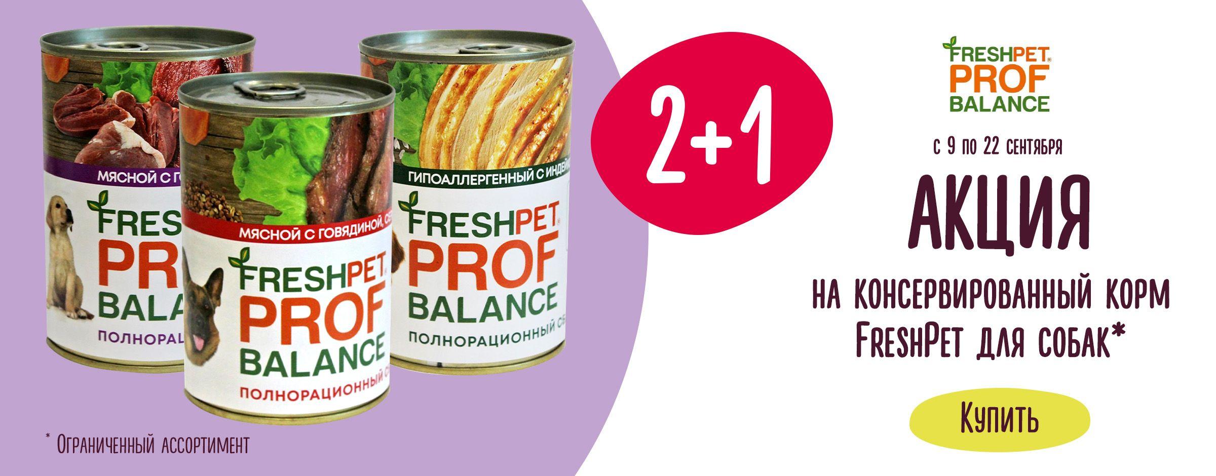 2+1 на консервированный корм FreshPet Листовка 18