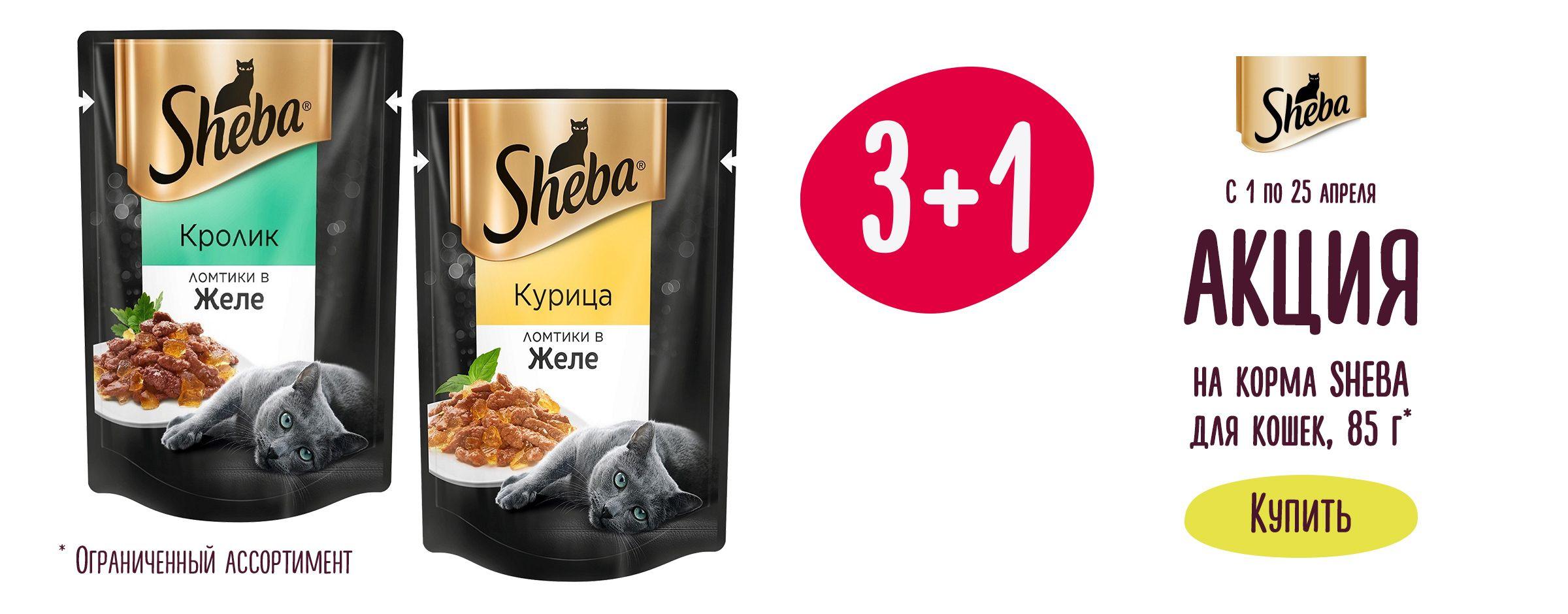 Акция 3+1 на корма для кошек  Sheba, 85г