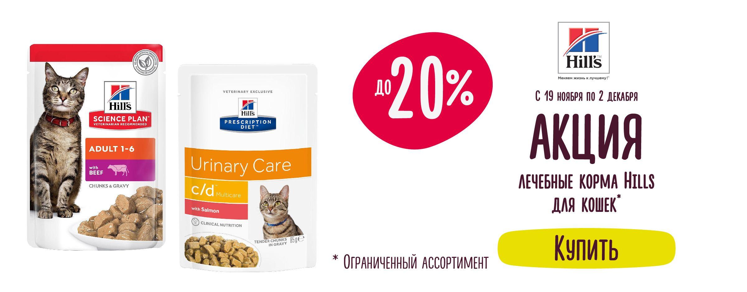 Скидка до 15% на лечебные корма Hills для кошек == Листовка 23