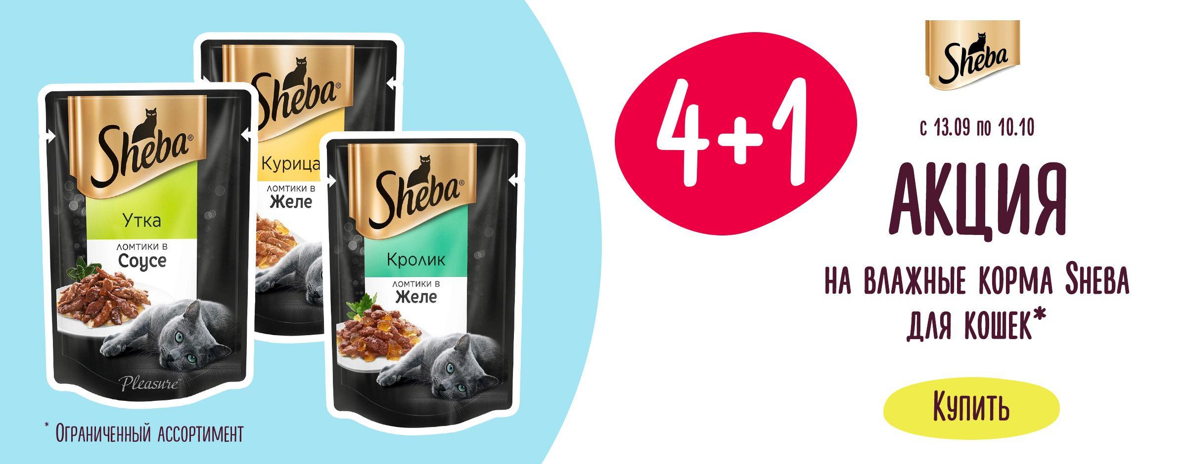 4+1 на влажные корма Sheba для кошек