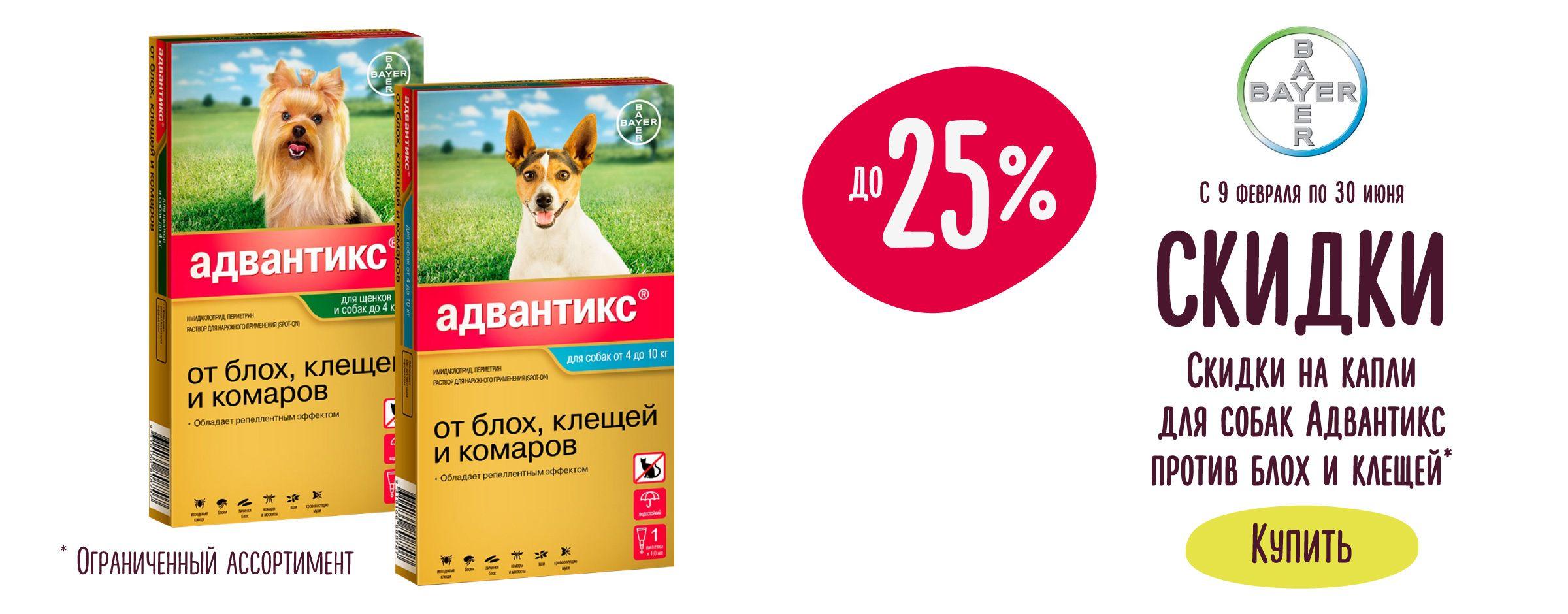 Скидки до 25% на капли для собак Адвантикс